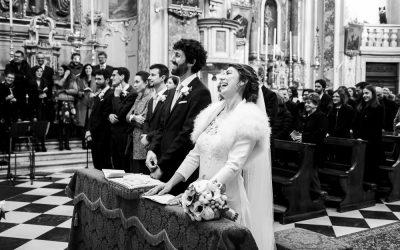 Servizio fotografico per matrimonio invernale a Brusaporto, presso ristorante Da Vittorio